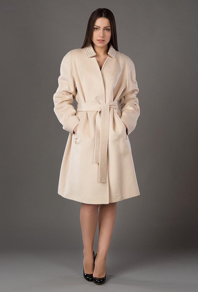 Пальто с запахом цвета слоновой кости Bella Bicchi
