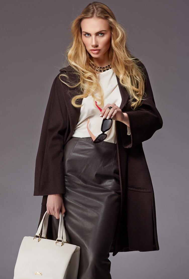 Пальто женское коричневое Teresa Tardia