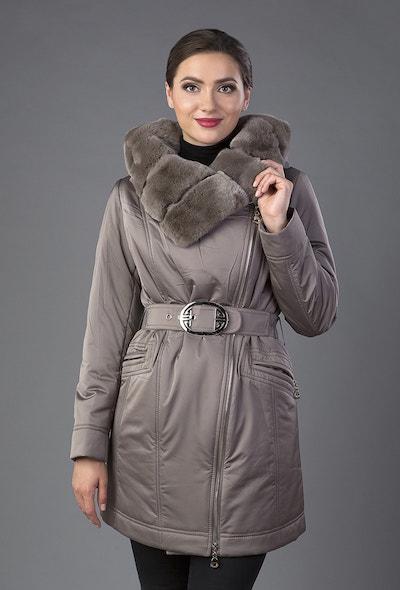 Укороченное пальто на тинсулейте с асимметричной застежкой