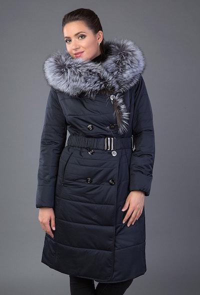 Зимнее женское пальто с двубортной застежкой и капюшоном