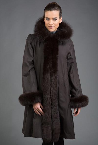 Зимнее пальто на меху кролика Rolf Schulte с отделкой песцом