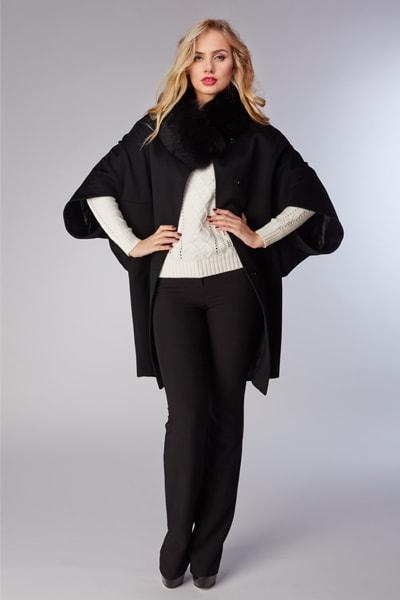 черный женский зимний кейп из коллекции Schumacher