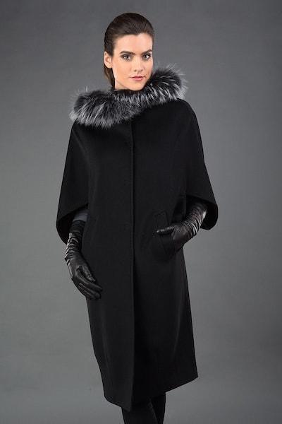 Удлиненное женское пальто-кейп Heresis черного цвета