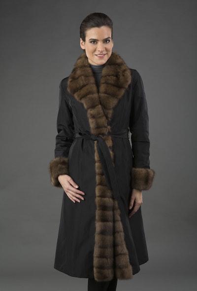 Длинное женское пальто Garioldi на меху кролика