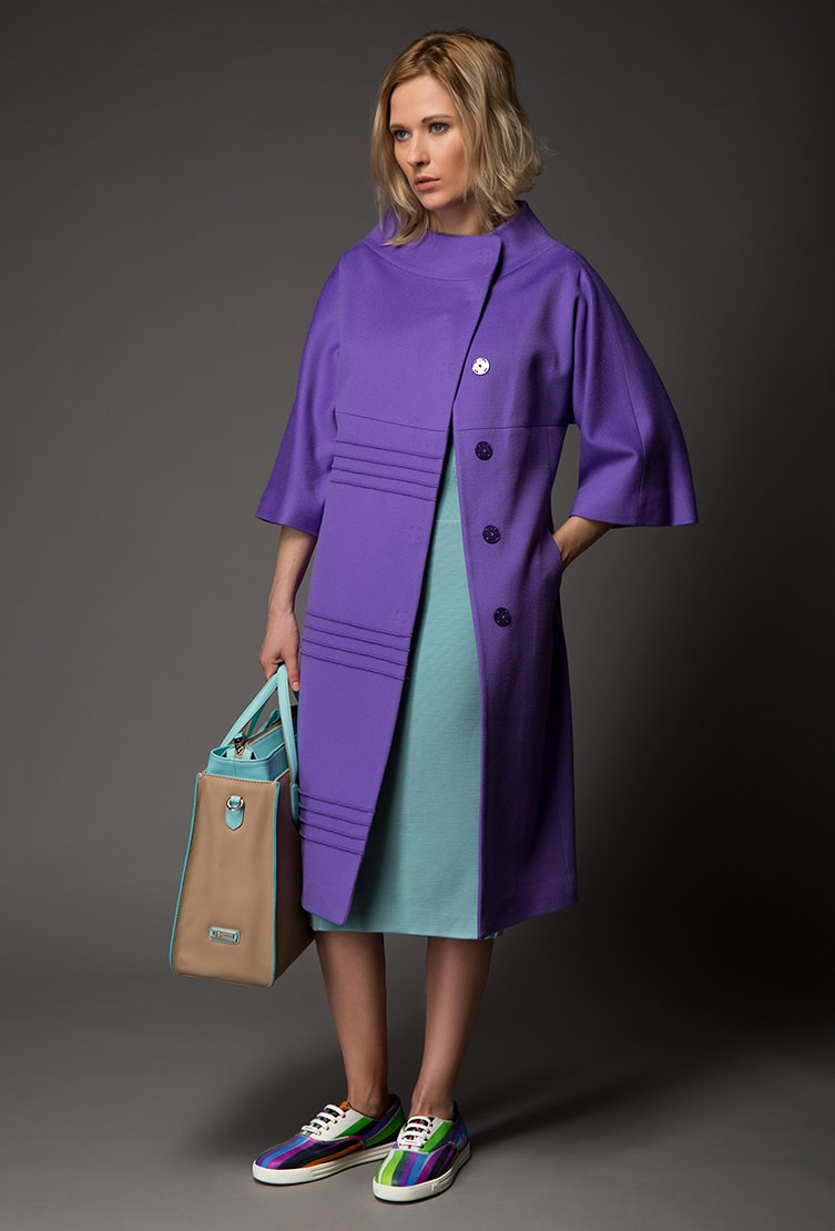 Приталенное пальто Heresis сиреневого цвета