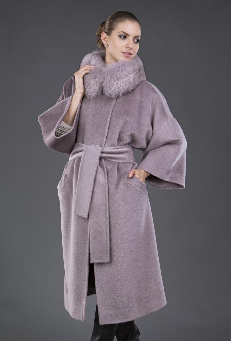 Розовое пальто-кимоно Teresa Tardia из шерсти альпака
