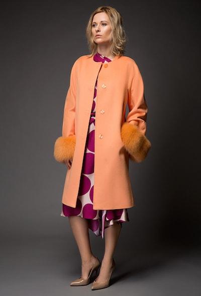 Приталенное пальто с мехом итальянской марки Heresis