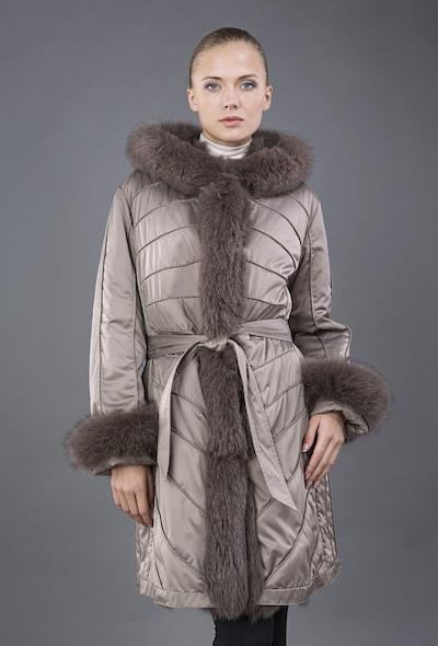 Двустороннее бежевое пальто Rolf Schulte на меху песца