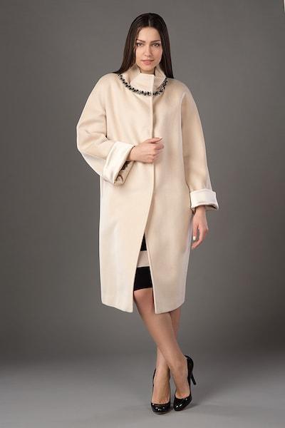 Пальто-кокон цвета слоновой кости Bella Bicchi