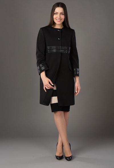 Черное пальто с декором из кожи Bella Bicchi