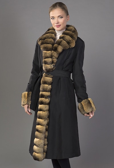 Шелковое пальто на меху Garioldi с мехом шиншиллы