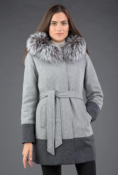 Серое шерстяное пальто Garioldi на кроличьей подстежке