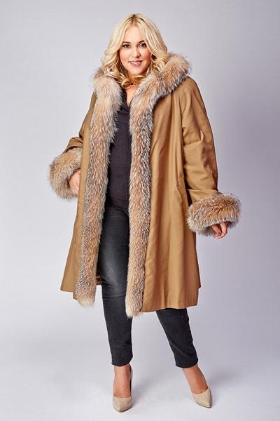 Расклешенное бежевое пальто на меху Rolf Schulte для сезона зима