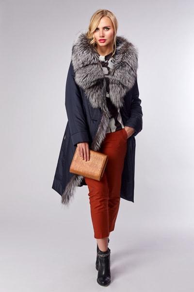 Элегантное пальто из полиэстера на меху с асимметричной застежкой