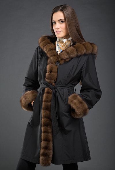 Черное женское пальто на кролике Garioldi с соболиным мехом