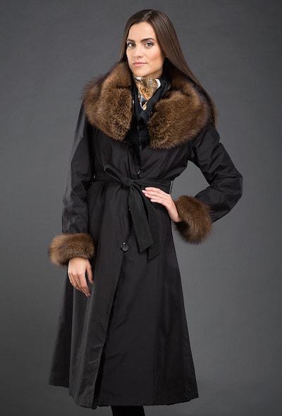 Черное пальто на кроличьей подстежке Garioldi крытое шелком