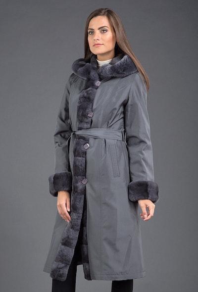 Женское пальто дымчатого цвета на кролике для сезона зима