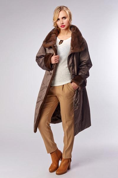 Укороченное зимнее пальто на тинсулейте с асимметричной застежкой