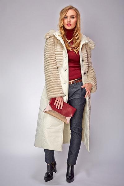 Приталенное женское пальто с геометрической прострочкой Lanca