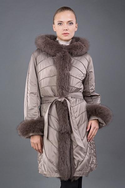 Двустороннее женское пальто зима Rolf Schulte на меху песца