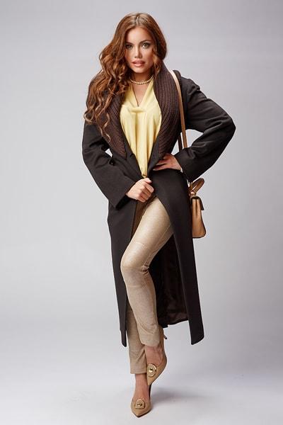 Стильное женское пальто Teresa Tardia с вязаным воротником