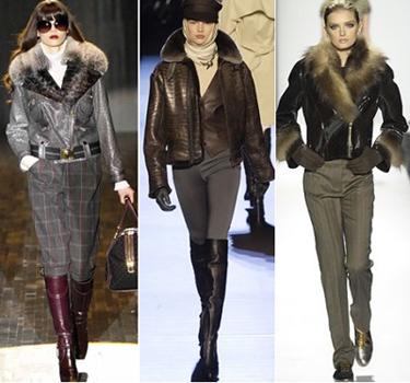 женские кожаные куртки зима 2011 с меховой отделкой.