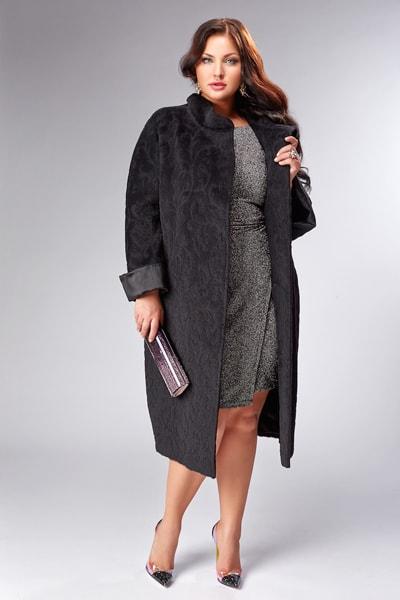 Шерстяное длинное женское пальто на большие и стандартные размеры