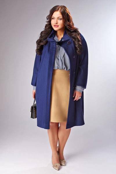 Шерстяное женское пальто с капюшоном на большие и стандартные размеры