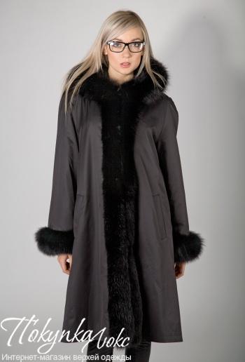 Коричневое пальто на меху Rolf Schulte с отделкой песцом