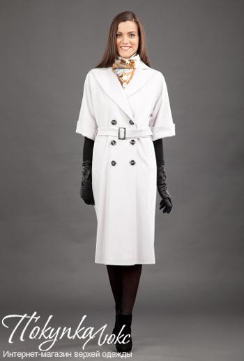 Классическое женское белое пальто с коротким рукавом