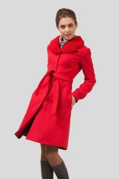 Стильное женское пальто из красного кашемира