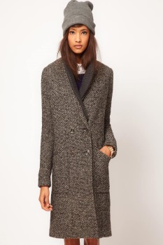Шерстяное пальто с вязаным воротником в стиле кэжуал