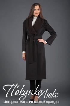 Пальто шоколадного цвета с трикотажным воротником