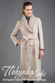 Бежевое женское пальто Teresa Tardia с вязаным воротником