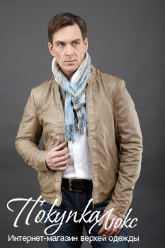 Мужская бежевая куртка AFG из натуральной кожи