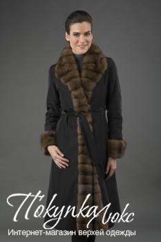 Длинное женское пальто на меху кролика