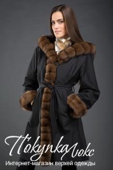 Черное пальто на кролике Garioldi с соболиным мехом