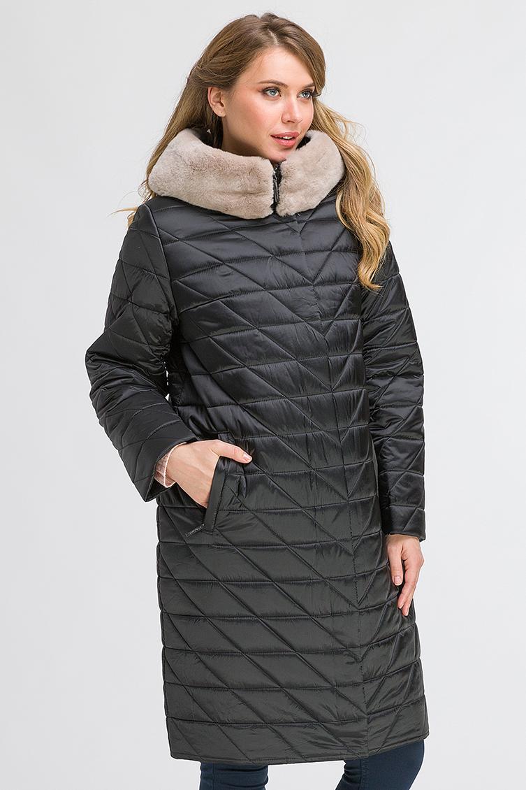 Демисезонное стеганое пальто с кроликом