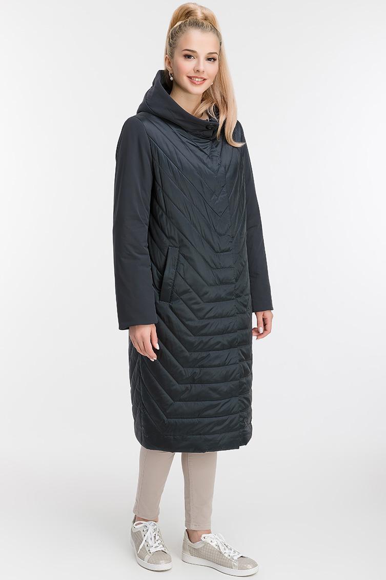 Демисезонное пальто на синтепоне с капюшоном фото