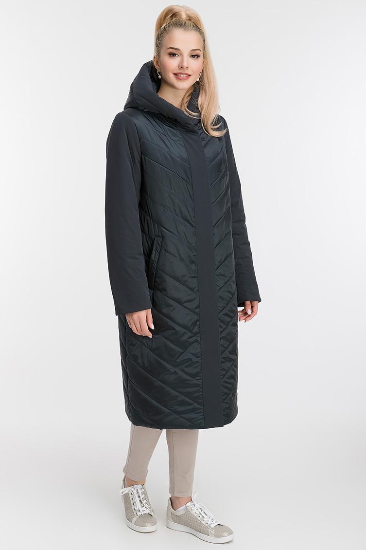 Стеганое женское пальто с капюшоном фото