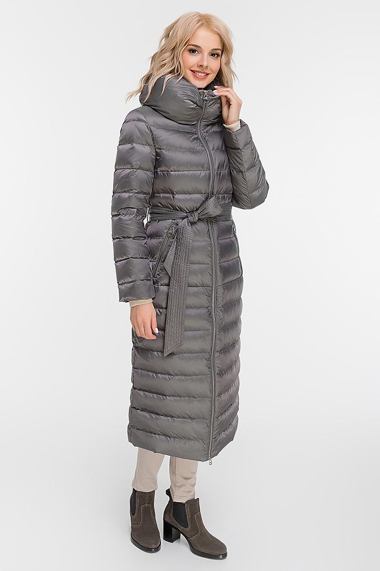 Длинное стеганое пуховое пальто без капюшона фото