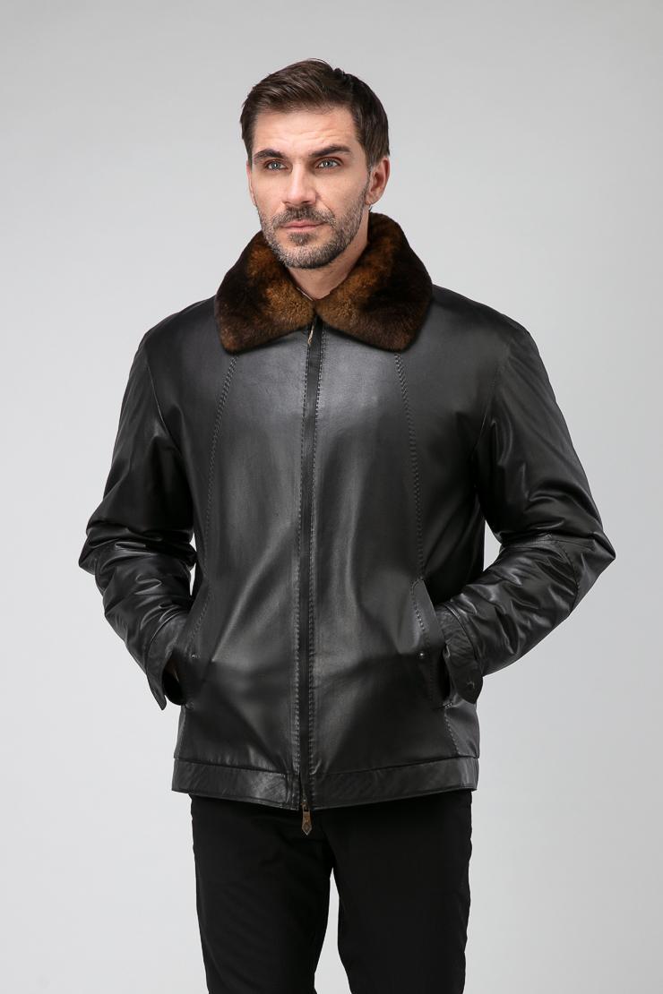 Мужская короткая кожаная куртка на меху Bos Bison 1108/B11-черный