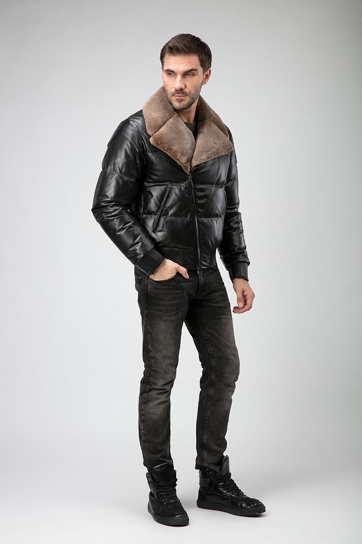Черная короткая мужская куртка из кожи с мехом Bos Bison 1138/B01-черный