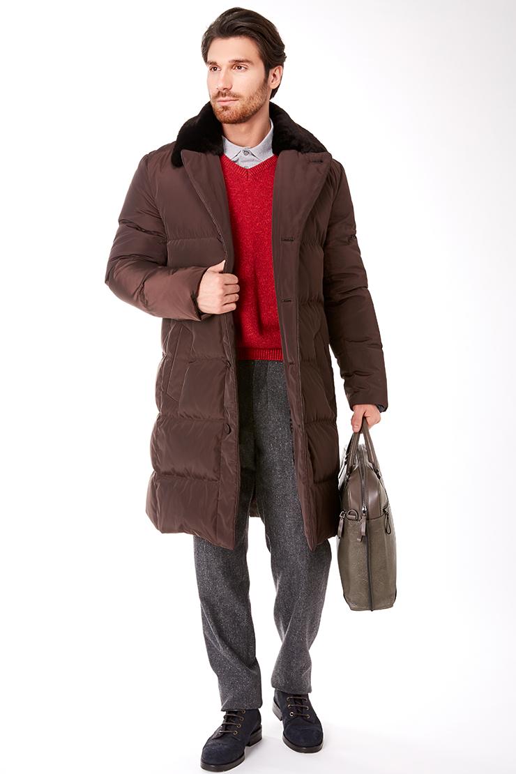 Мужское пуховое пальто с мехом на воротнике Bos Bison 1241/B26-коричневый