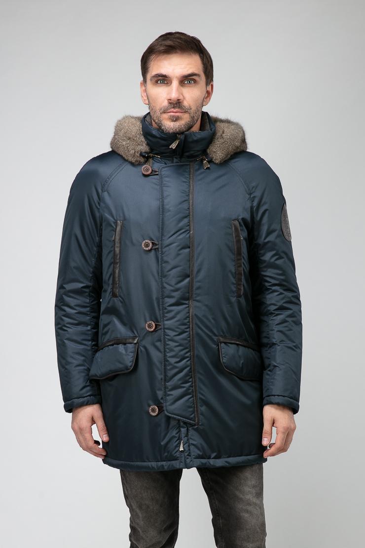 Длинная мужская куртка синего цвета на меху Bos Bison 1406/B02-темно-синий
