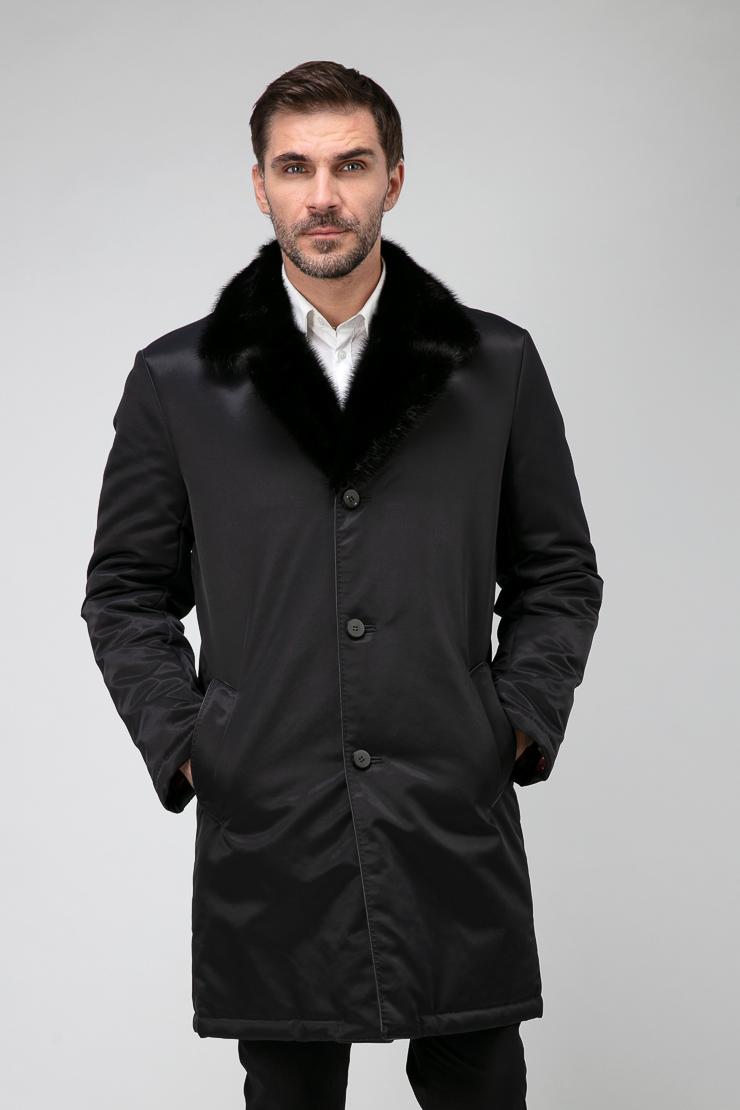 Длинная зимняя мужская куртка на меху с норковым воротником