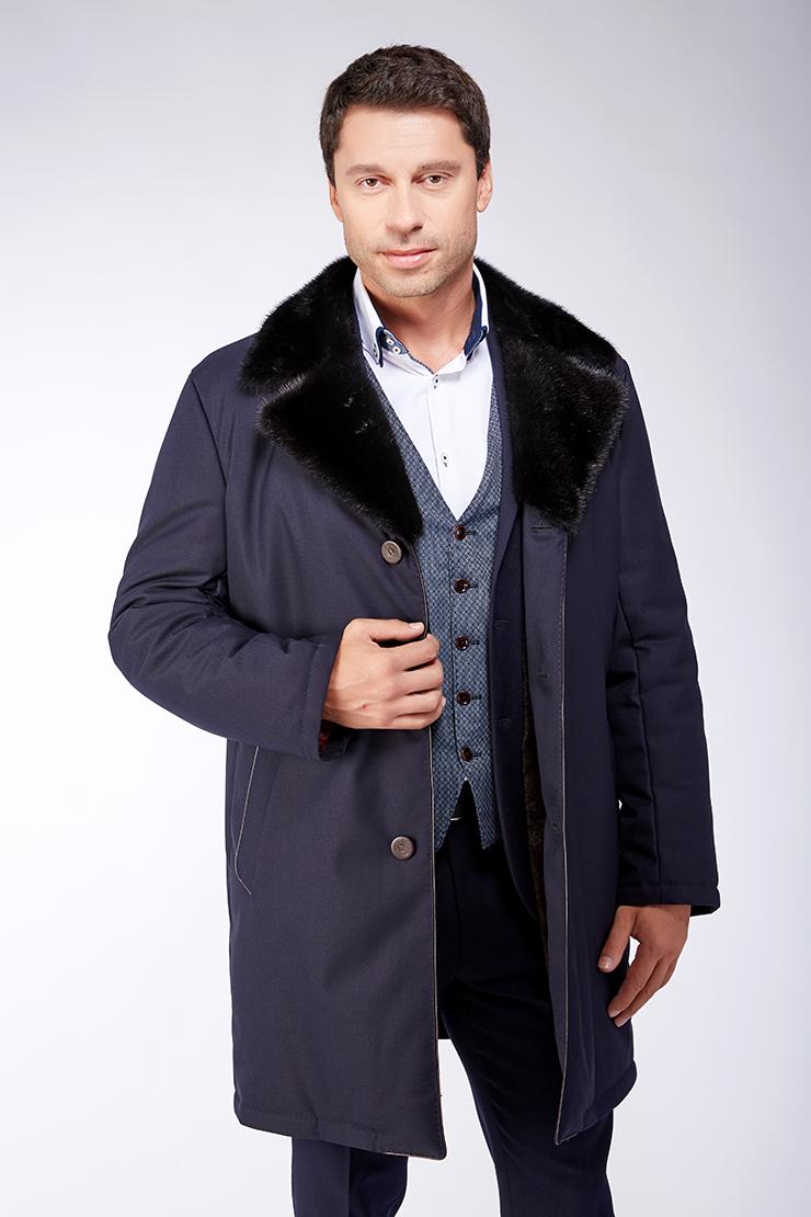 Темно-синяя длинная куртка из шерсти с мембраной Bos Bison 1413/B05-темно-синий