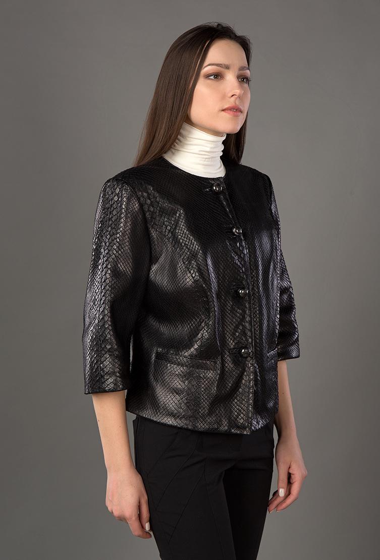 Женская короткая кожаная куртка для весны с рукавом 3/4Куртки<br>Женская короткая кожаная куртка для весны с рукавом 3/4<br>Цвет: черный; Размер: 44; Состав: Кожа натуральная, подкладка - 100% п/э; Материал: Кожа натуральная, подкладка - 100% п/э;