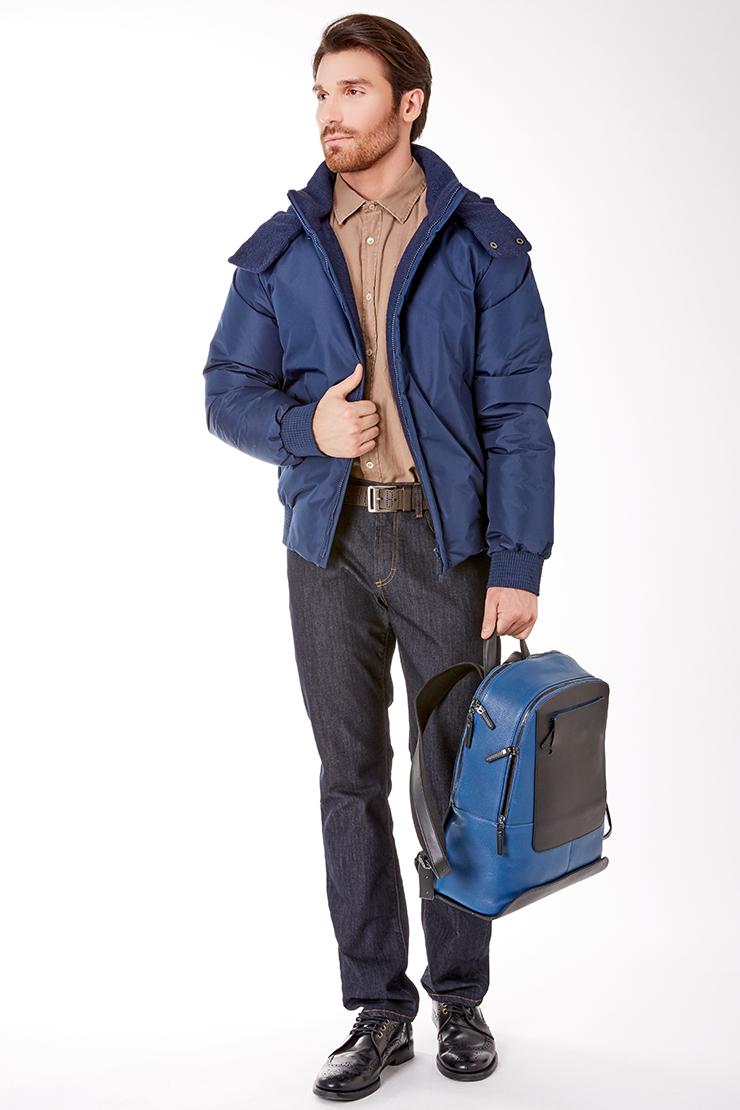 Короткая мужская пуховая куртка синего цвета Bos Bison 16840/B28-синий