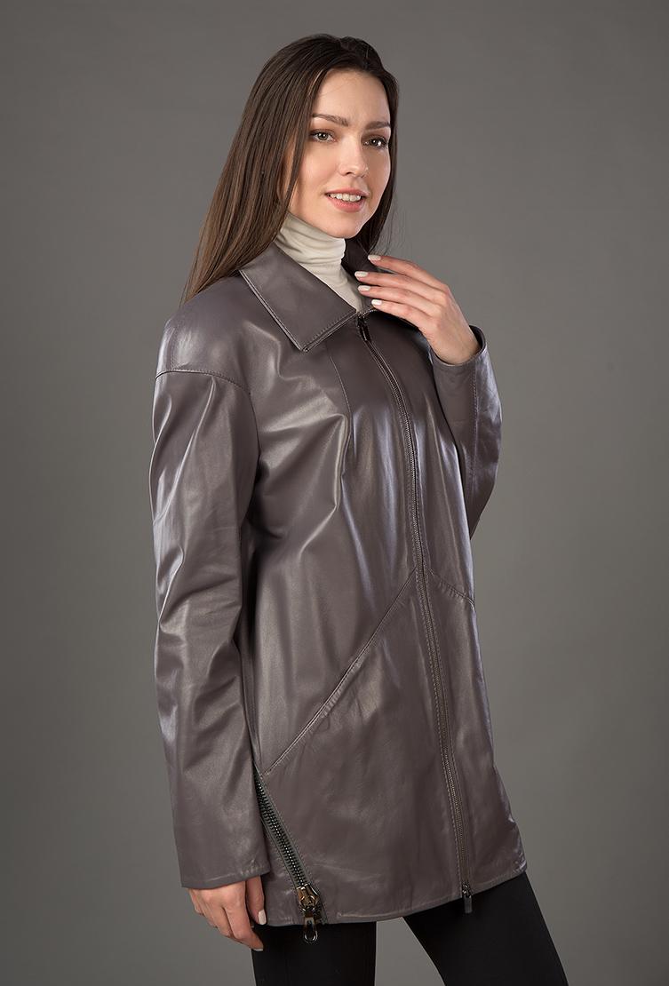 Кожаный плащ укороченного типа для осениКуртки<br>Кожаный плащ укороченного типа для осени<br>Цвет: серый; Размер: 44, 46; Состав: Кожа натуральная, подкладка - 100% п/э; Материал: Кожа натуральная, подкладка - 100% п/э;
